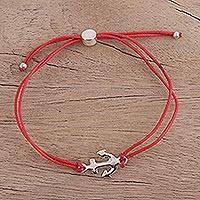 Sterling silver pendant bracelet, 'Anchor of Hope in Strawberry' - Unisex Red Cord Bracelet with Anchor Pendant