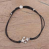 Sterling silver pendant bracelet, 'Anchor of Hope in Black' - Unisex Anchor Pendant Cord Bracelet in Sterling Silver