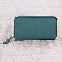 Leather wallet, 'Calm Sea' - Sea Green Zipper Wallet with Multiple Pockets for Women