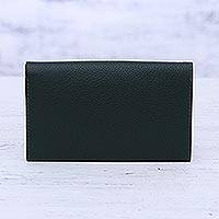Leather wallet, 'Forest Grandeur' - Ivy Green Pebbled Leather Bi-Fold Wallet from India