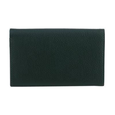 Ivy Green Pebbled Leather Bi-Fold Wallet from India