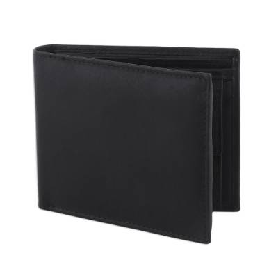 Men's leather wallet, 'Smart Choice in Black' - Men's Genuine Black Leather Wallet Handcrafted in India