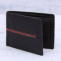 Men's leather wallet, 'Suave in Dark Brown' - Men's Dark Brown Leather Wallet with Red Fabric Accent
