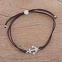 Sterling silver pendant bracelet, 'Anchor of Hope in Brown' - Brown Cotton Cord and Sterling Silver Anchor Bracelet