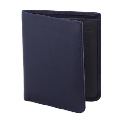 Leather bifold wallet, 'Noble Navy' - Sleek Navy Blue Leather Wallet from India