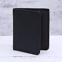 Leather bifold wallet, 'Noble Black' - Classic Bifold Style Wallet in Black Leather