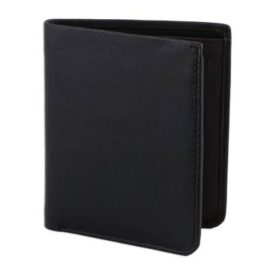 Classic Bifold Style Wallet in Black Leather