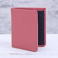 Leather bifold wallet, 'Noble Rose' - Pink Leather Bifold Wallet Handmade in India