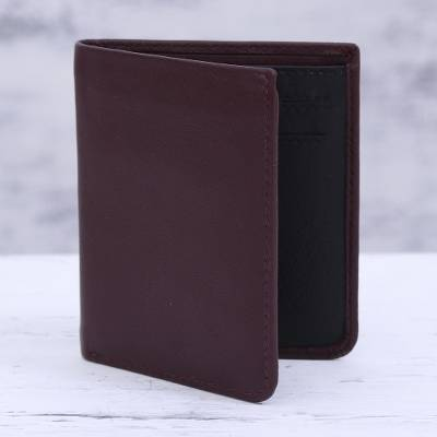 Leather bifold wallet, 'Noble Cordovan' - Cordovan Leather Wallet with Multiple Pockets