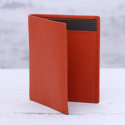 Leather card holder wallet, 'Fiery Passion' - Red Leather Card Holder from India