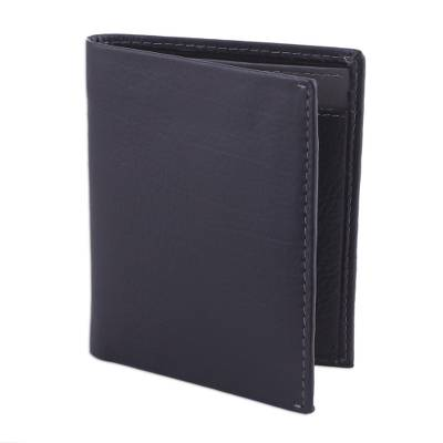 Leather Card Holder Wallet in Black and Grey