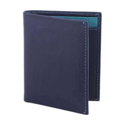 Leather card holder wallet, 'Reliable Blue' - Classic Leather Card Holder Wallet in Blue Leather