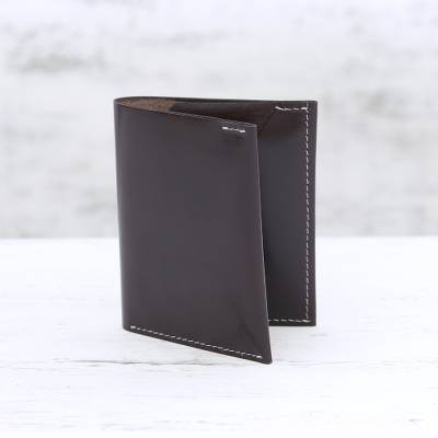 Men's leather card holder wallet, 'Dauntless Brown' - Men's Genuine Brown Leather Card Holder Wallet from India