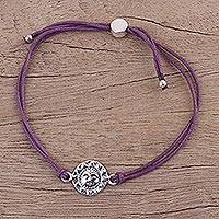 Sterling silver pendant bracelet, 'Purple Surya Blaze' - Fair Trade Sterling Silver Sun Face Purple Cord Bracelet