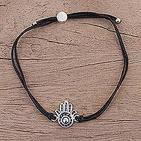 Sterling silver pendant bracelet, 'Black Jali Hamsa' - Hamsa Bracelet in Sterling Silver with Black Cotton Cords