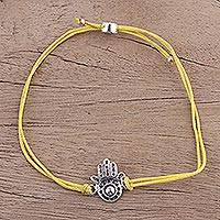 Sterling silver pendant bracelet, 'Yellow Jali Hamsa' - Fair Trade Yellow Cotton Cord Sterling Silver Hamsa Bracelet