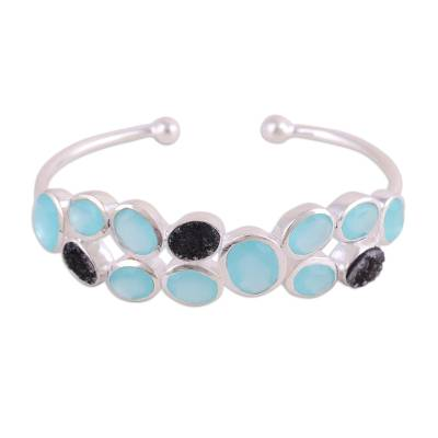Chalcedony and drusy quartz cuff bracelet, 'Imperial Mist' - Aqua Chalcedony and Black Drusy Quartz Cuff Bracelet