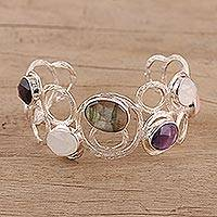 Multi-gemstone cuff bracelet, 'Harmonious Luster' - Multi-Gemstone Sterling Silver Cuff Bracelet from India