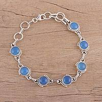 Chalcedony link bracelet, 'Charming Orbs' - Chalcedony and Sterling Silver Link Bracelet from India