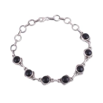 Handcrafted Black Onyx Sterling Silver Link Bracelet