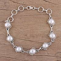 Cultured pearl link bracelet, 'Charming Orbs' - Cultured Pearl and Sterling Silver Link Bracelet from India