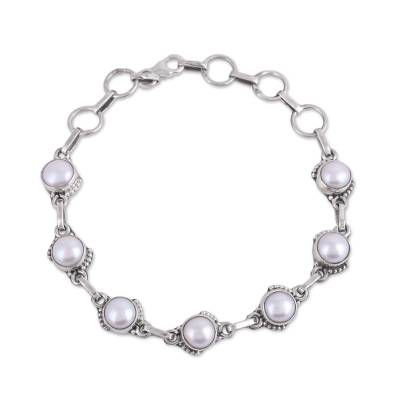 Cultured Pearl and Sterling Silver Link Bracelet from India