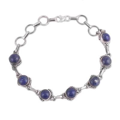 Lapis Lazuli and Sterling Silver Link Bracelet from India