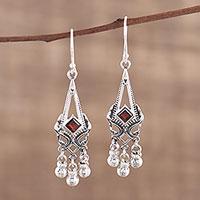 Garnet chandelier earrings, 'Delightful Deco' - Garnet and Sterling Silver Chandelier Earrings from India
