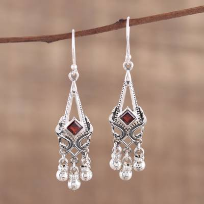 Garnet chandelier earrings, 'Delightful Dangle' - Garnet and Sterling Silver Chandelier Earrings from India