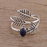 Lapis lazuli cocktail ring, 'Cheerful Trio' - Lapis Lazuli and Sterling Silver Cocktail Ring from India