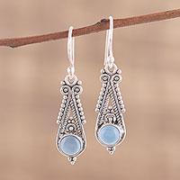 Chalcedony dangle earrings, 'Regal Peaks'