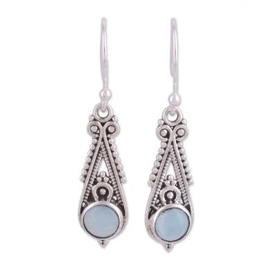 Pointed Chalcedony Dangle Earrings from India