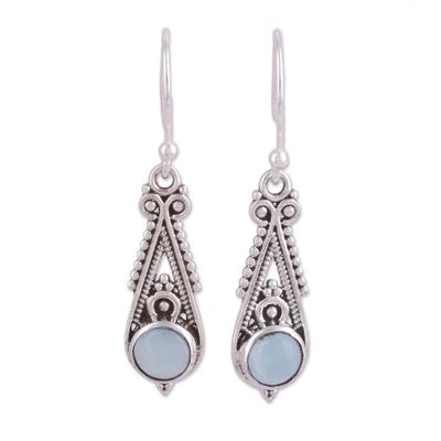 Chalcedony dangle earrings, 'Regal Peaks' - Pointed Chalcedony Dangle Earrings from India