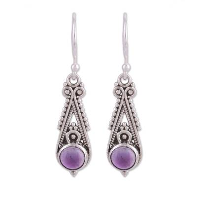 Pointed Amethyst Dangle Earrings from India