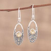 Citrine dangle earrings, 'Sparkling Garden' - Citrie and Sterling Silver Dangle Earrings from India