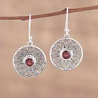 Garnet dangle earrings, 'Dotted Gleam' - Circular Garnet and Silver Dangle Earrings from India