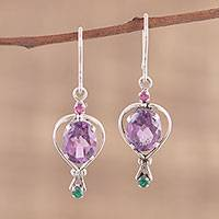 Amethyst dangle earrings, 'Sparkling Allure' - Amethyst Emerald and Ruby Dangle Earrings from India
