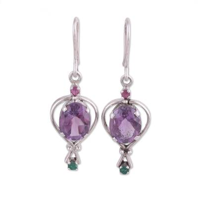 Multi-gemstone dangle earrings, 'Sparkling Allure' - Amethyst Emerald and Ruby Dangle Earrings from India