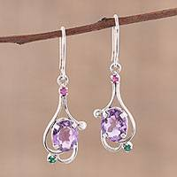 Amethyst dangle earrings, 'Alluring Glisten' - Amethyst Ruby and Emerald Dangle Earrings from India