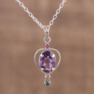 Multi-gemstone pendant necklace, 'Sparkling Allure' - Amethyst Emerald and Ruby Pendant Necklace from India