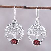 Garnet dangle earrings, 'Corona Trees' - Tree-Shaped Garnet and Silver Dangle Earrings from India