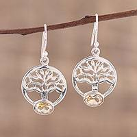 Citrine dangle earrings, 'Corona Trees' - Tree-Shaped Citrine and Silver Dangle Earrings from India