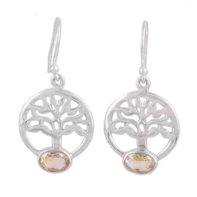 Tree-Shaped Citrine and Silver Dangle Earrings from India