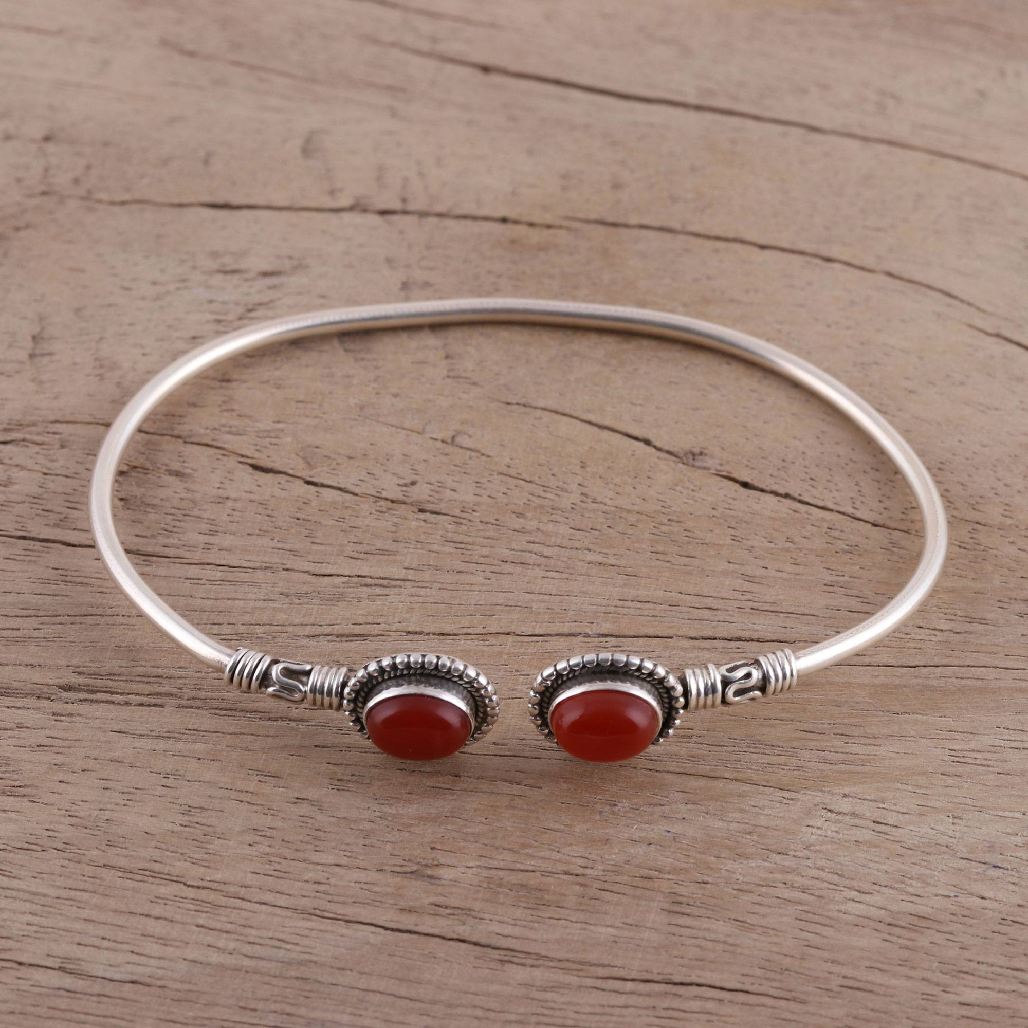 Carnelian and Sterling Silver Cuff Bracelet from India, 'Flaring Ovals'