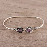 Amethyst cuff bracelet, 'Flaring Ovals' - Amethyst and Sterling Silver Cuff Bracelet from India