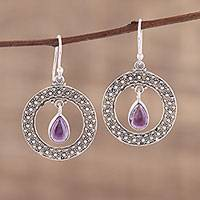 Amethyst dangle earrings, 'Floral Loop in Purple' - Amethyst and Sterling Silver Floral Motif Dangle Earrings