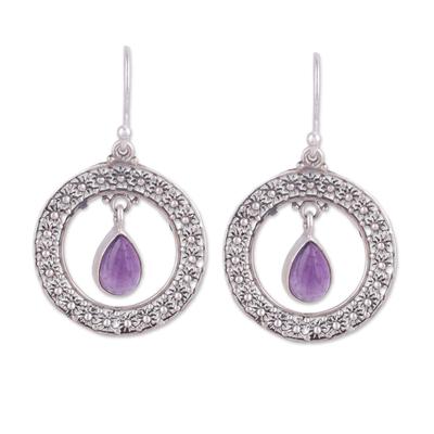 Amethyst dangle earrings, 'Floral Loop in Purple' - Amethyst and Sterling Silver Floral Motif Dangle Earrings