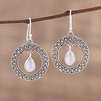 Rainbow moonstone dangle earrings, 'Floral Loop in White' - Rainbow Moonstone and Sterling Silver Dangle Earrings