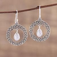 Rainbow moonstone dangle earrings, 'Floral Loop in White' - Rainbow Moonstone and Sterling Silver Dangle Earrings