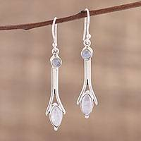 Rainbow moonstone dangle earrings, 'White Embrace' - Hand Crafted Rainbow Moonstone and Sterling Silver Earrings